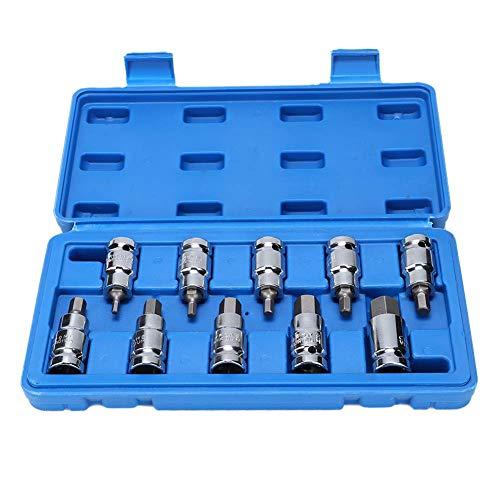 WY-YAN Llaves de vaso Llave 10Pcs Hex Bit Herramientas de reparación de coches Herramienta manual 1/2 pulgadas