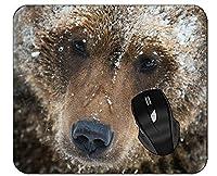 コンピューターのマウスパッド雪の野生動物ベアステッチエッジ付きマウスパッド