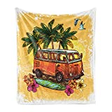 Ambesonne Surf Soft Flannel Fleece Throw Blanket, Hippie Classic Old Bus Surfboard Freedom Holiday Exotic Life Sketchy Art, Cozy Plush for Indoor and Outdoor Use, 50' x 70', Yellow Orange