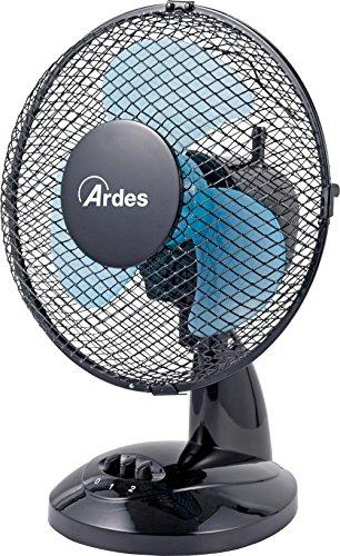 Ardes AR5EA23 EASY 23 Ventilatore da Tavolo Pala 23 cm 2 livelli di Velocità, Total Black