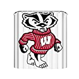 Noick University of Wisconsin Badgers Bucky Badger Boutique Shower Curtain Hooks Polyester Home Decor 72x72Inch