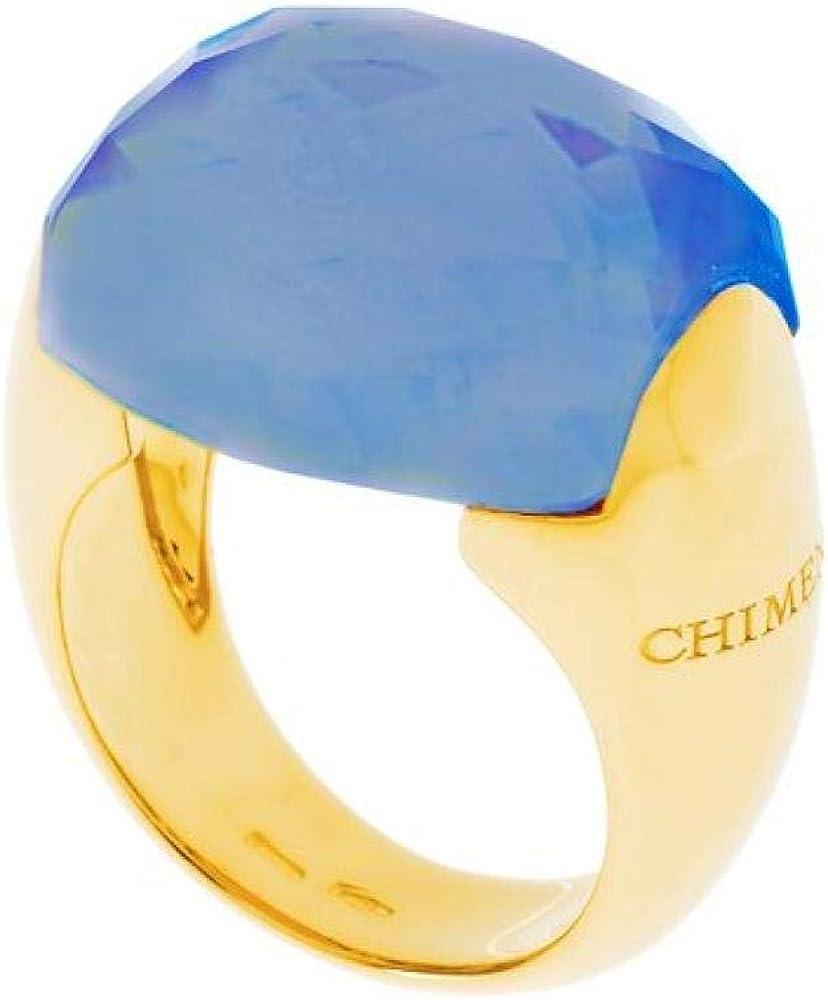 Chimento,anello a fascia per donna, in oro giallo 9 kt(11,8gr),impreziosito da un quarzo azzurro centrale 2A01155W31140