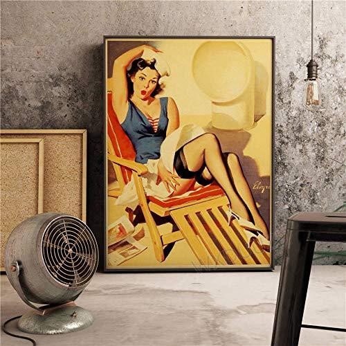 YWOHP Señoras American Retro Decoración Artista Hogar Café Bar Decoración Pintura Arte de la Pared Cartel Calidad Pintura de la lona-50_x_70_cm_No_Frame_13
