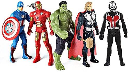 Aronet Avenger Action Figure Toys Hulk, Antman, Captain America, Iron Man, Thor Super Fighter 5 pcs Set (4.6 Inch, Multicolor)