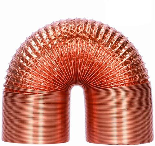 HG Power - Manguera de aluminio de 125 mm, 2 m, lámina de aluminio, resistente al calor, flexible, aislamiento acústico, tubo de ventilación (cobre)