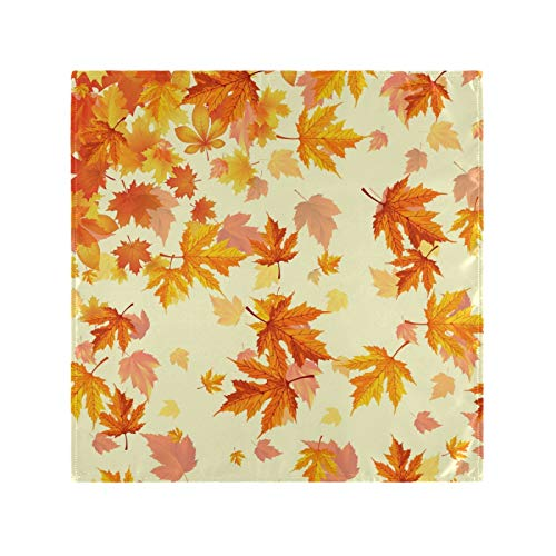 Cloth Napkins Everyday Use Autumn Golden Tree Maple Fall Falling Leaves Table Napkins Cloth Washable Durable for Home Dinner Kitchen Wedding Party Decoration Holidays Fall Floral Funny 20'X20'