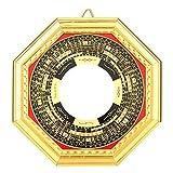 Tissting Dorado Chisme Espejo Brújula Feng Shui Espejo Suministros Bagua Convexo Cóncavo Espejo Ornamento Suerte Decoración para Hogar Oficina Familia(Convexo)