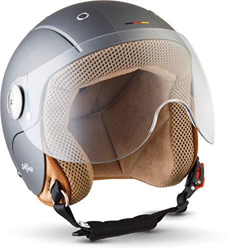 "SOXON® SK-55 ""Plus Titan"" · Kinder Jet-Helm · Motorrad-Helm Kinder-Helm Roller-Helm Kids Scooter-Helm Vespa Bobber Mofa-Helm Chopper · ECE 22.05 Visier Schnellverschluss SlimShell Tasche XS (51-52cm)"