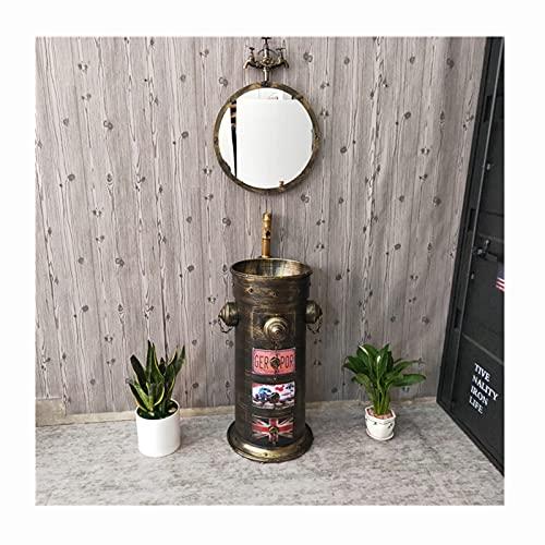 Lavabo Con Pie Retro Estilo Industrial, Pica Baño Con Combinación De Grifo Y Desagüe, Lavamanos Mueble Baño De Hierro Forjado Hecho A Mano (Color:Juego de lavabo de columna de bronce vintage + espejo)
