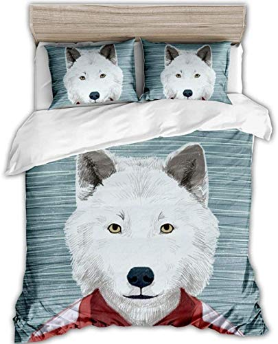 Svvsovs Home Textiles Bed Linen Set Single size 135 x 200 cm 3D King Size Bedspread Couple Bedding Set Duvets Cotton + 2 Pillowcase 50 X 75 cm Hand drawn white animal dog - Children's duvet s