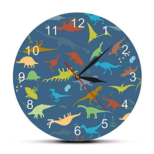 yage Dinosaurio Colorido con números árabes Nombre Personalizado Reloj de Pared Impreso Moderno Guardería Habitación de niños Reloj Decorativo Reloj de Pared
