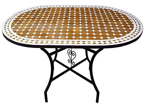 Orientalischer Mosaiktisch Braun Oval 120 x 80 cm