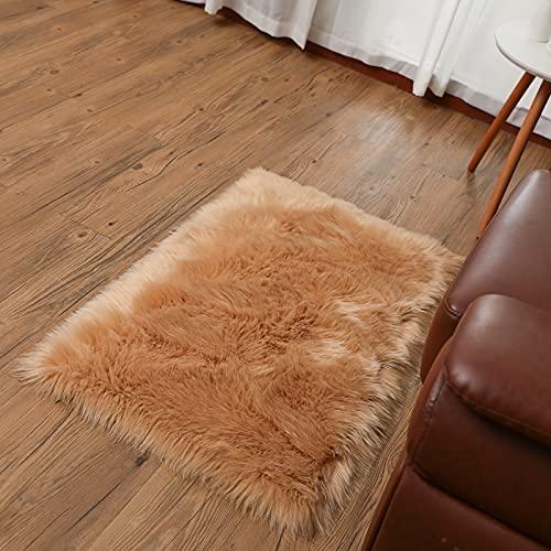 SXYHKJ Faux pelliccia di agnello di pecora tappeto,Pelliccia sintetica Tappeto vello di pecora (marrone, 60_x_90_cm)