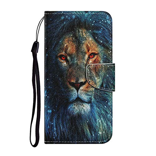 Miagon for Samsung Galaxy A20/A30 Case,Colorful Pattern Folding Stand PU Leather Wallet Flip Cover with TPU Inner Bumper Card Slots Magnetic Closure,Lion