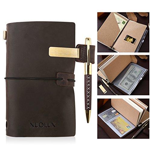 NUOLUX Leder Notizbuch Tagebuch,Reisetagebuch,Echtes Leder Tagebuch mit Stift und Stifthalter