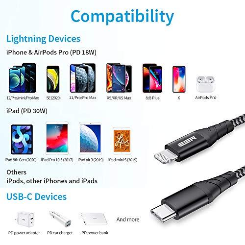 ESR USB C Lightning Kabel 2m MFi Zertifiziert, Nylon Ladekabel Power Delivery Schnelllademodus für iPhone 12/12 Mini/12 Pro/12 Pro Max/SE/11/XR/XS/X/8 zur Benutzung mit Typ-C Ladegeräten,Schwarz.