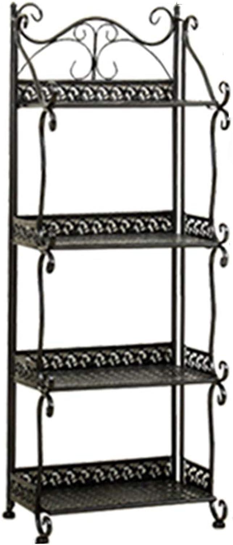 YANZHEN Storage Shelves Kitchen Shelf Storage Floor-Standing Bathroom Retro European Style Iron, Load-Bearing 150KG 5 Size (color   Bronze, Size   33x22x88cm)