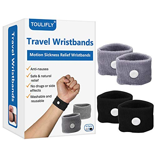 Travel Wristbands,Travel Motion Sickness Relief Wrist Band,Natural Nausea Relief (Grey+Black)