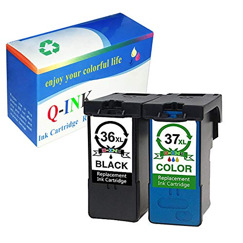 QINK 2 Pack (Black Color) for Lexmark 36XL 37XL Ink Cartridge High Yield High Capacity Show Ink Level 18C2130 18C2140 for Lexmark Z2420 X3650 X4650 X6675