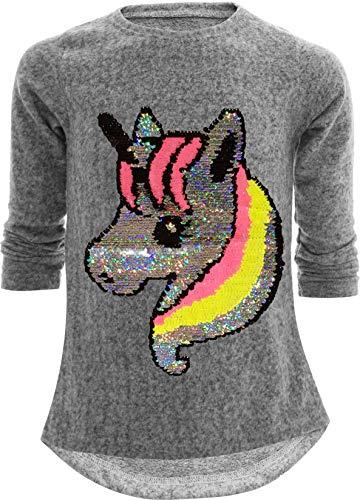 Einhorn Unicorn Pferd Mädchen Kinder Sweatshirt Pullover Wendepailletten Glitzer Bluse Langshirt...