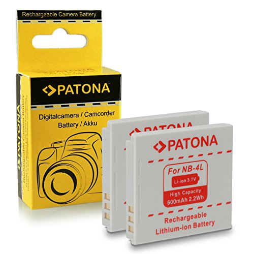 2x Batería NB-4L para Canon Digital Ixus 30 | 40 | 50 | 55 | 60 | 65 | 70 | 75 | 80 IS | 82 IS | 100 IS | 110 IS | 115 HS | 120 IS | 130 IS | 220 HS | 230 HS | 255 HS | i zoom | i7 | Wireless - PowerShot SD40 | SD600 | SD750 | SD1000 | SD1100 IS | TX1