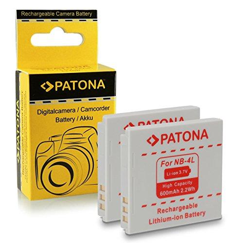 2x Batería NB-4L para Canon Digital Ixus 30 | 40 | 50 | 55 | 60 | 65 | 70 | 75 | 80 IS |...