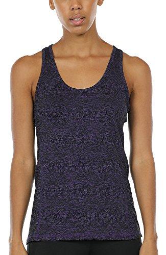 icyzone Damen Sporttop Yoga Tank Top Ringerrücken Oberteil Laufen Fitness Funktions Shirt (Purple, L)