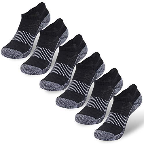 Three Street Kupfersocken, Unisex, gepolsterte Sohle, Fußgewölbeunterstützung, athletische Knöchel/Crew-Socken - Schwarz - Small