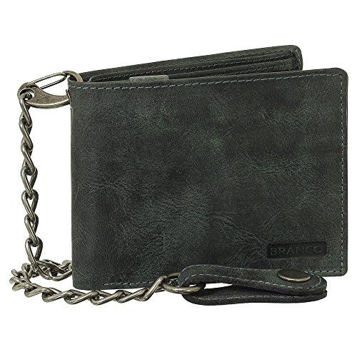 Luxus Leder Bikerbörse mit Kette Geldbörse Portemonnaie Geldbeutel 12,5 cm Farbe schwarz
