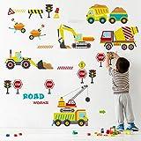 decalmile Adesivi Murali Costruzione Automobili Adesivi da Parete Bambini Cantiere Veicoli Decorazione Murale Asilo Nido Camera da Letto