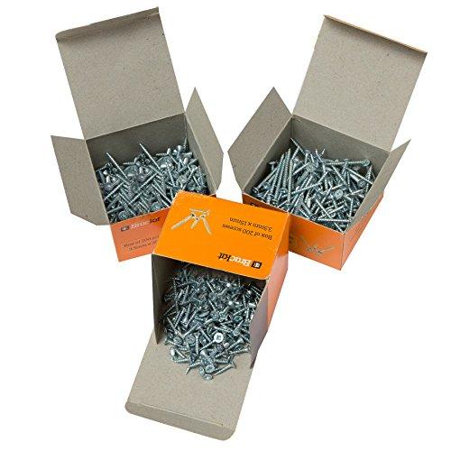 600St. Holzbauschrauben Satz verzinkter Stahl Kreuzschlitz Senkkopf Pozidrive je 200 St. 3,5mm x 15/30/40mm Vollgewinde kurze & lange Spanplatten-Schrauben für Möbel, Sockelleisten OSB-Platten