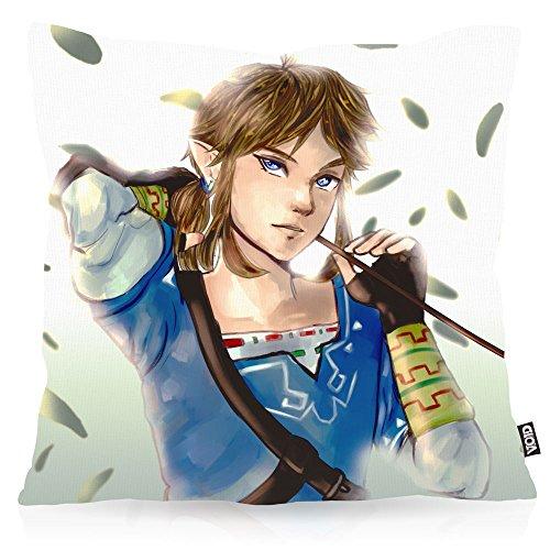 VOID Wild Link Oreiller avec Motif taie d'oreiller Housse Outdoor Indoor Switch The Breath of Snes Zelda Ocarina, Kissen Größe:80 x 80 cm