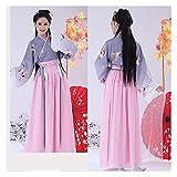 YUNGYE Hanfu - Vestido chino para cosplay hanfu para mujer, traje chino, disfraz de princesa de hada antigua, vestido hanfu tradicional (color: juego gris, tamaño: XL)