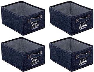 MU Grandes boîtes de rangement pliables, boîtes de rangement de denim, boîte de rangement imperméable de tiroir,Bleu,26 * ...