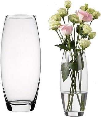 Unishop Vaso di fiori in vetro, vaso bombato in vetro, altezza 26 cm, elegante e sofisticato
