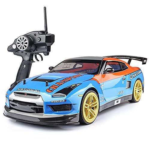 CUIGANGZ GTR RC Coche 1/10 escala de gran tamaño de alta velocidad 7 0KMH 4WD Todo Terreno Sport Supercar 2.4GHz Vehículo de control remoto eléctrico for adultos Niños, niños, automóvil de juguete con