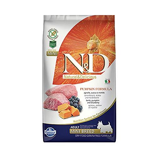 Farmina N&D Getreidefrei Adult Mini Kürbis, Lamm & Heidelbeere für erwachsene Hunde kleiner Rassen - Komplettfuttermittel., Kilogramm:0.8 kg