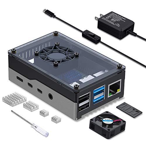 Smraza Gehäuse für Raspberry Pi 4, Raspberry Pi 4 Gehäuse, Raspi 4B Gehäuse mit Lüfter 35 mm, 4 Stück Kühlkörper, 5V 3A USB-C Netzteil für RPI 4 Modell B 8GB/4GB/2GB/1GB