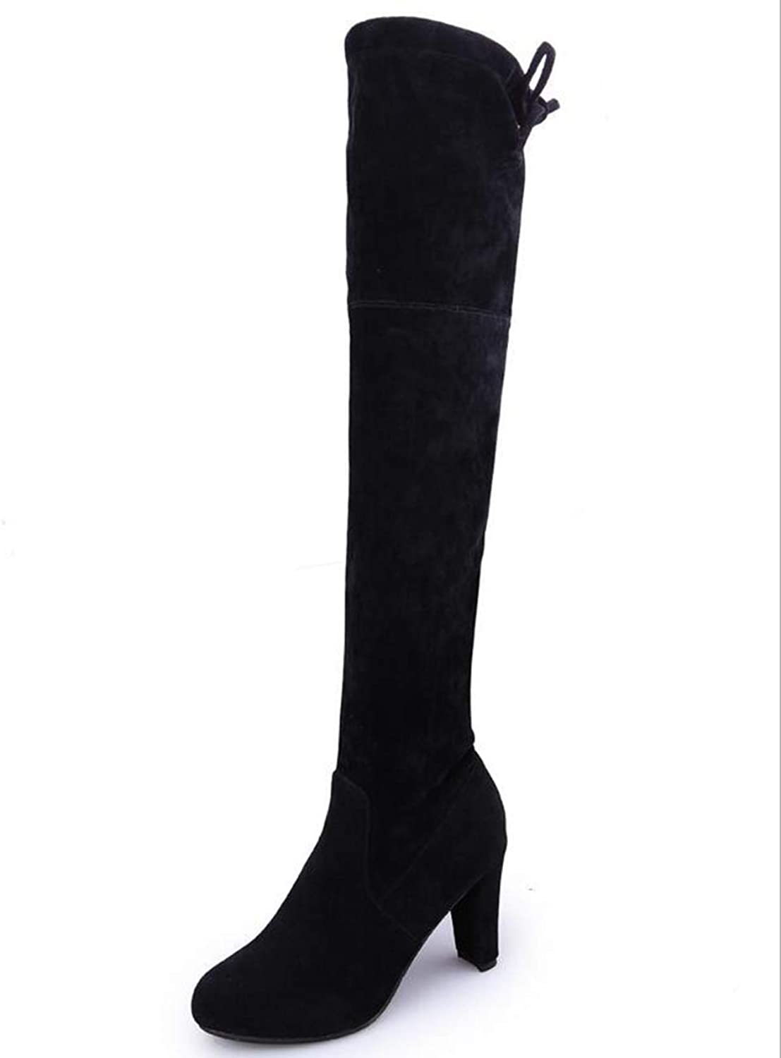 Hoxekle Women Over The Knee High Boots Lace-Up Slip On Stretch Fabric Round Toe High Heel Casual Ladies Long Boots