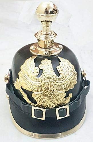 KEW HANDICRAFTS Leather Helmet German Prussian Recommendation Imper service Pickelhaube