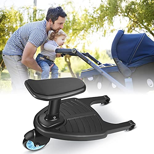 Buggy Board with Seat, 4YANG Stroller Auxiliary Pedal Portable Kiddy Boards Standing Board, Second Children Standing Pedal with Sitting Seat Stroller Accessory, for 2-5 Years Old Children Under 25KG