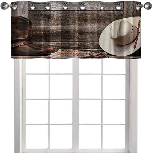 Cortina de filtrado de luz Americana Rodeo Fashion sombrero de paja blanco original Lariat lazo y granero 106,7 x 45,7 cm, cortina opaca para ventana pequeña, color marrón