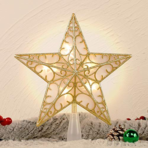 Juegoal Star Tree Topper with 10 LED Warm White Lights, Lighted Treetop Christmas Tree Decorations, Golden