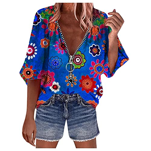 Tank Top, Short Tops, Women's Top, Chiffon Blouses, Summer Blouses, Three Quarter Sleeve Top with Round Neck and Cotton Blend Solid Color for Women, T-Shirts Women Online - Multicolour - S