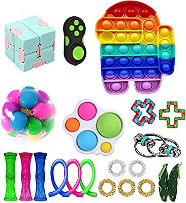 Nokiwiqis Fidget Toy Packs, Set De Juguetes Sensoriales Fidget Baratos con Simple Dimple Pop Bubble Infinite Cube Stress Ball y Anti Stress Relief Toy Stress Ball (22 AM) de