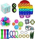 DIVERSIDAD ----- Burbuja pop-pop con forma de luna, frijoles, cubo Ultimate Fidget, cuerda elástica, pista loca, juegos de juguetes coloridos, diseño novedoso, diferentes formas, puede aliviar el estrés y la ansiedad. MATERIAL ----- Todos los juguete...