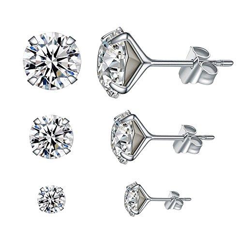 LANMPU, set di 3 paia di luminosi orecchini a bottone in argento sterling e cristallo swarovski, per ragazze e donne, orecchini da 4mm, 6mm e 8mm