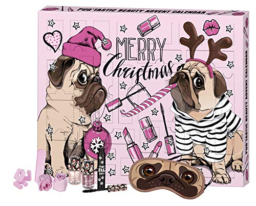 FESH! Pug'tastic Beauty Advent Calendar - Kosmetik-Adventskalender mit niedlichem Mops, 24 Stück