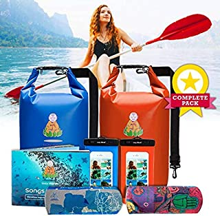 Lazy Monk Dry Bags Waterproof   Water Proof Bag Backpack   Best Kayak & Travel Sack Accessories with Phone Case Kayaking Fishing Proof Ski Swimming River Trip Float Short Tubing Surf