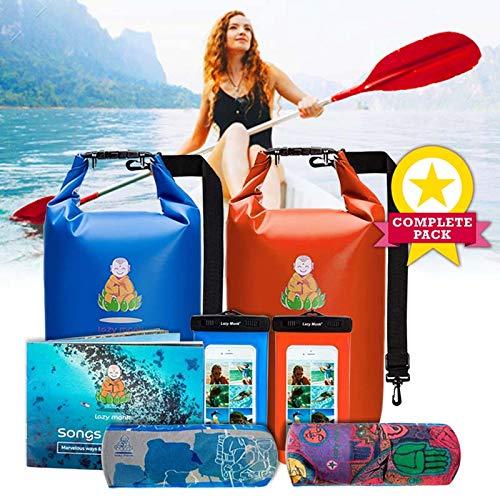 Lazy Monk Dry Bags Waterproof | Water Proof Bag Backpack | Best Kayak & Travel Sack Accessories with Phone Case Kayaking Fishing Proof Ski Swimming River Trip Float Short Tubing Surf